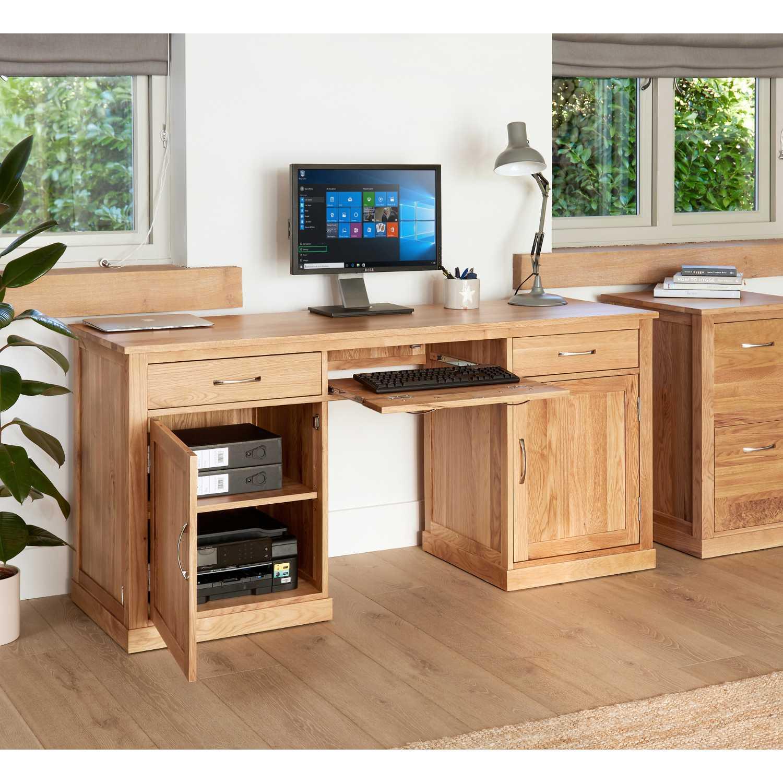 Solid Light Oak Large Hidden Home Office Twin Pedestal