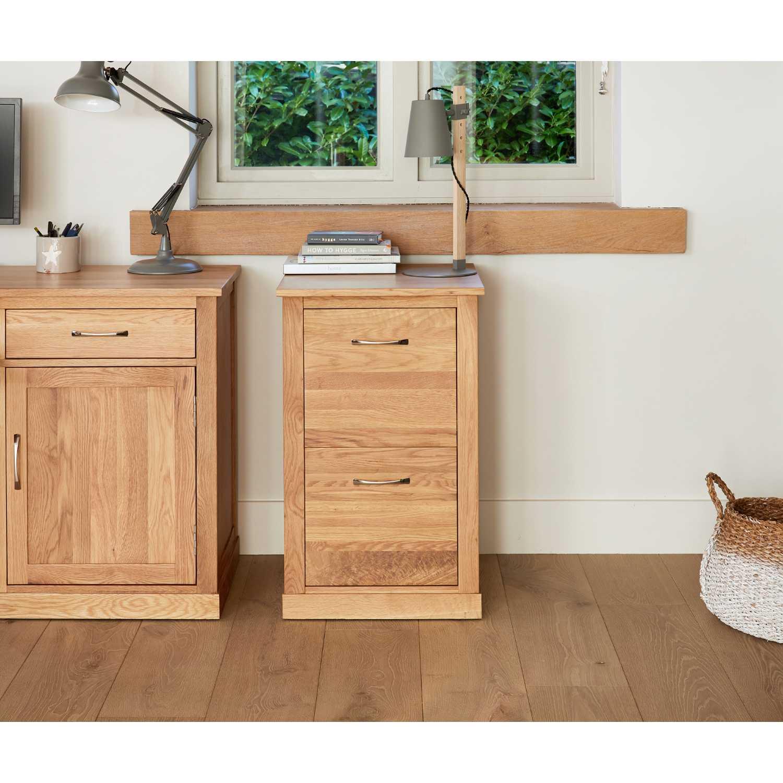 Solid Light Oak 2 Drawer Filing Cabinet Home Office