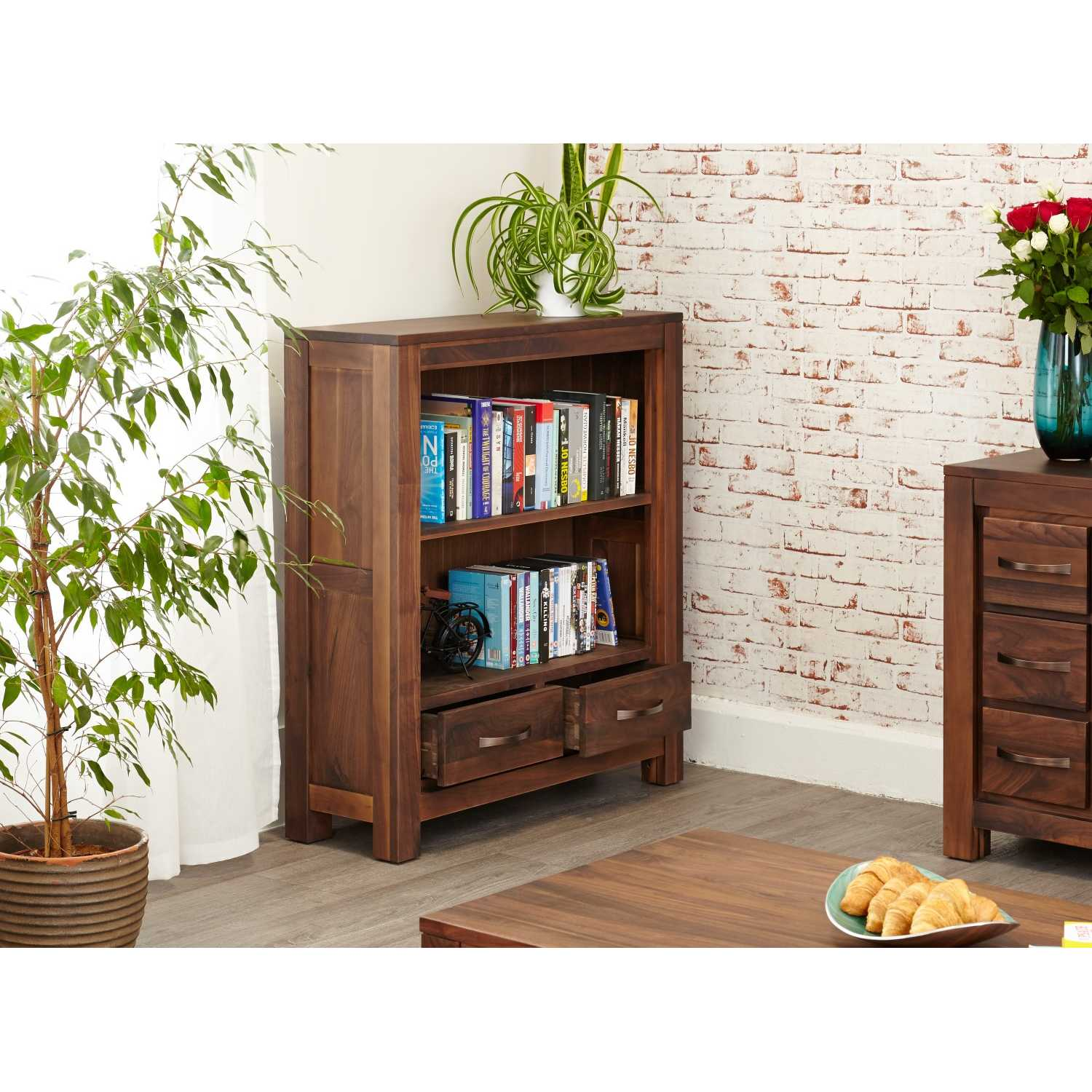 Walnut Small Low Bookcase with 2 Drawers 1 Shelf Dark Wood ...