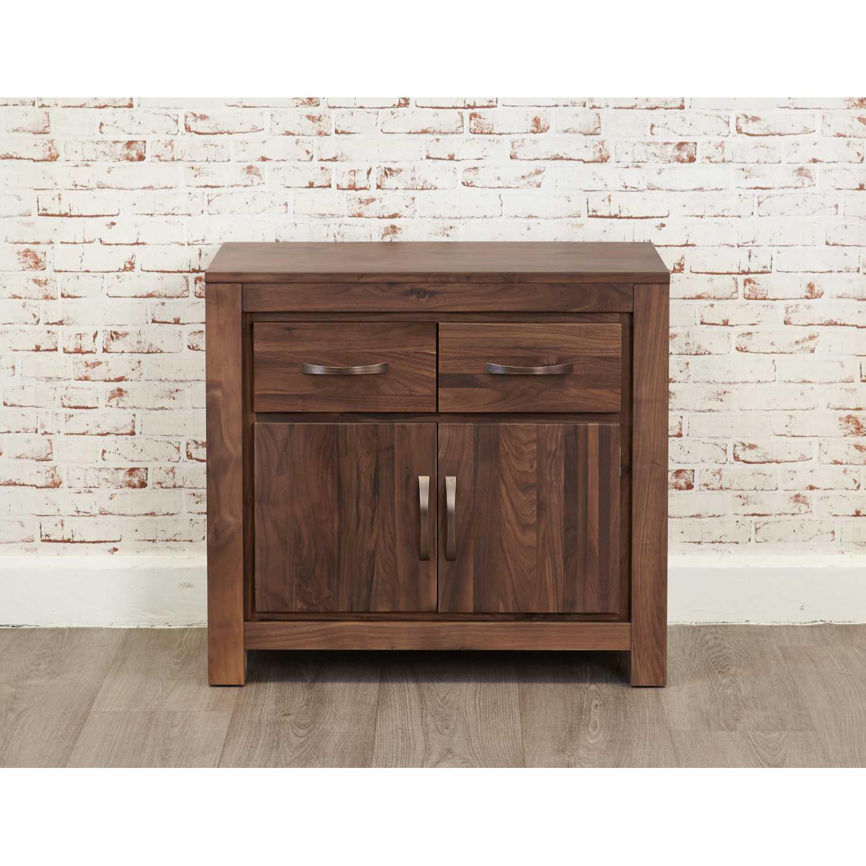 Dark Wood Solid Walnut Small Sideboard 2 Doors 2 Drawers
