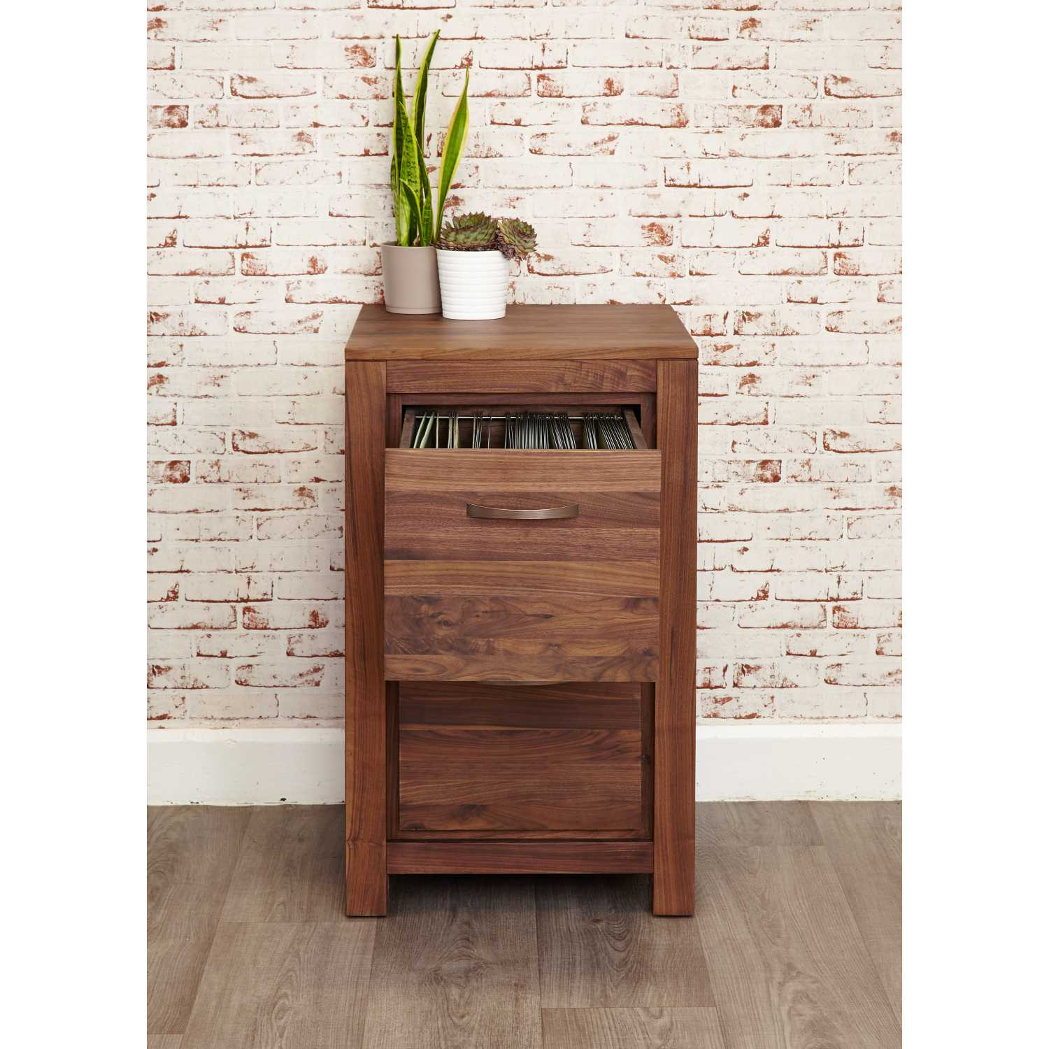 Solid Walnut 2 Drawer Home Office Filing Cabinet In Dark