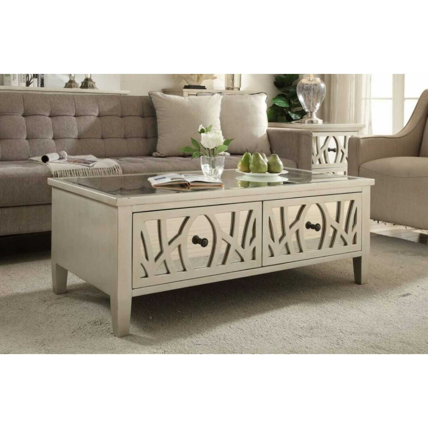 Gallo Coffee Table With Mirrored Glass Fronted Drawers