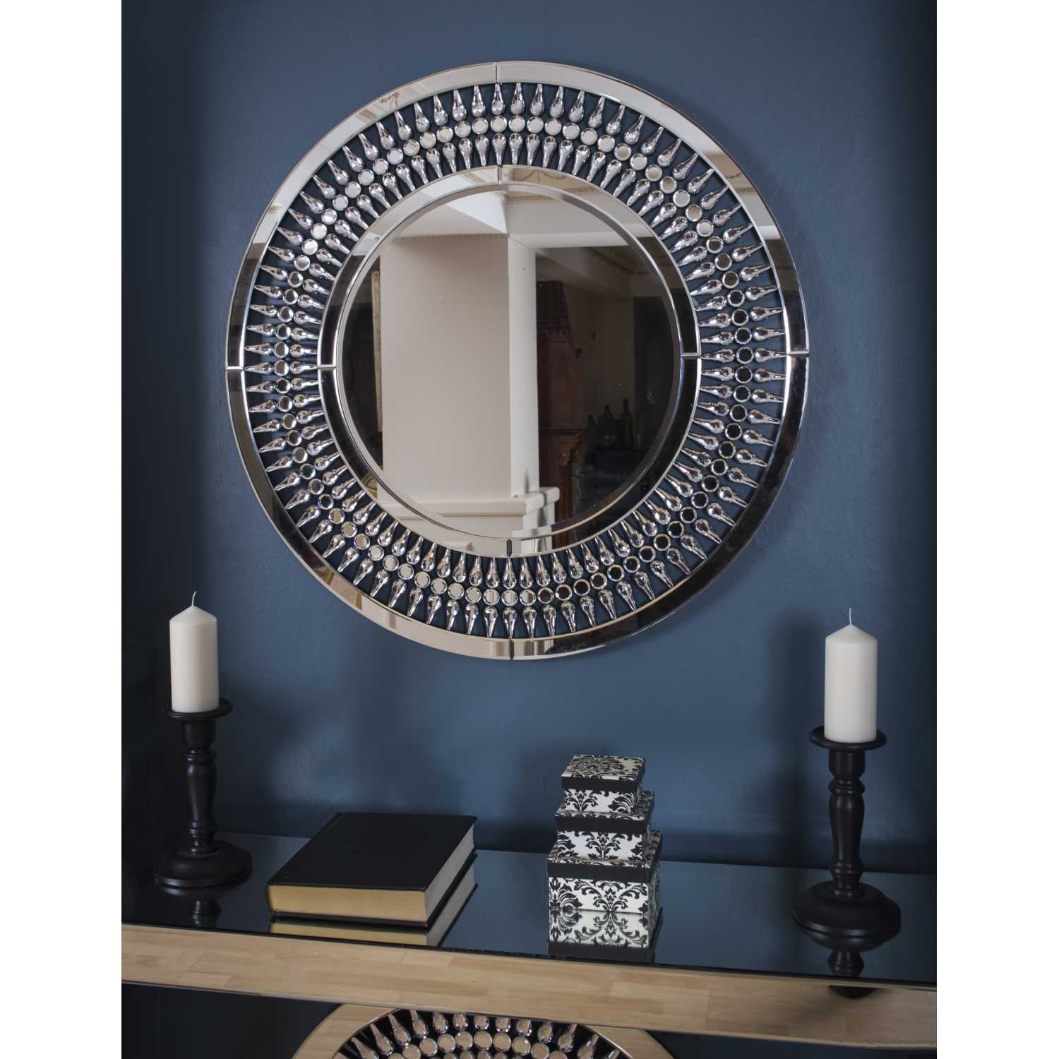 Large Round Mirrored Glass 3ft Crystal Wall Mirror 90cm ...