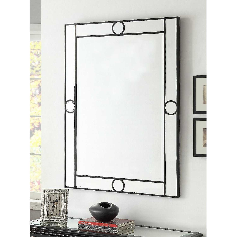 Modern Art Deco Henley Rectangular Wall Mirror With Black Circles