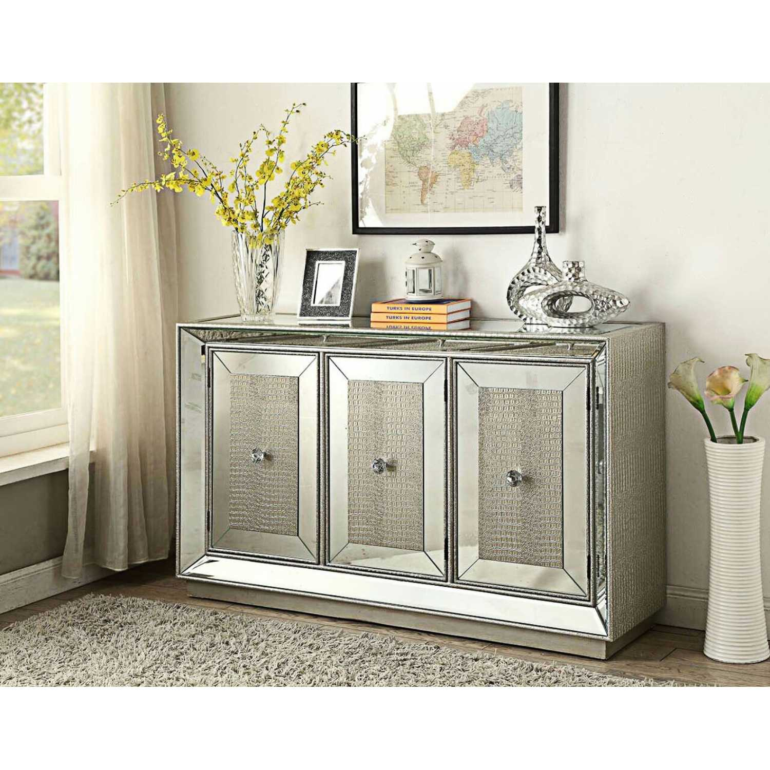 Sofia Modern Mirrored Glass 3 Door Sideboard With Silver