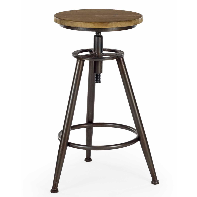 Pair Of Industrial Wood And Metal Height Adjustable