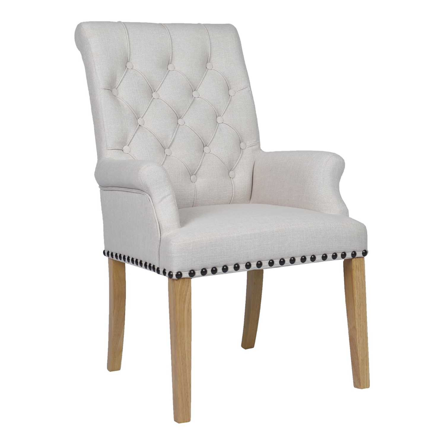 Fabric Chairs Beige Dining Chair with Studded Detail And ...