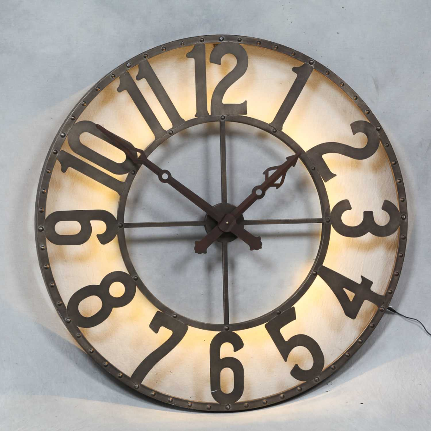 IN STOCK FREE DELIVERY London Large Round Steampunk Industrial Iluminated  Back Lit Wall Clock