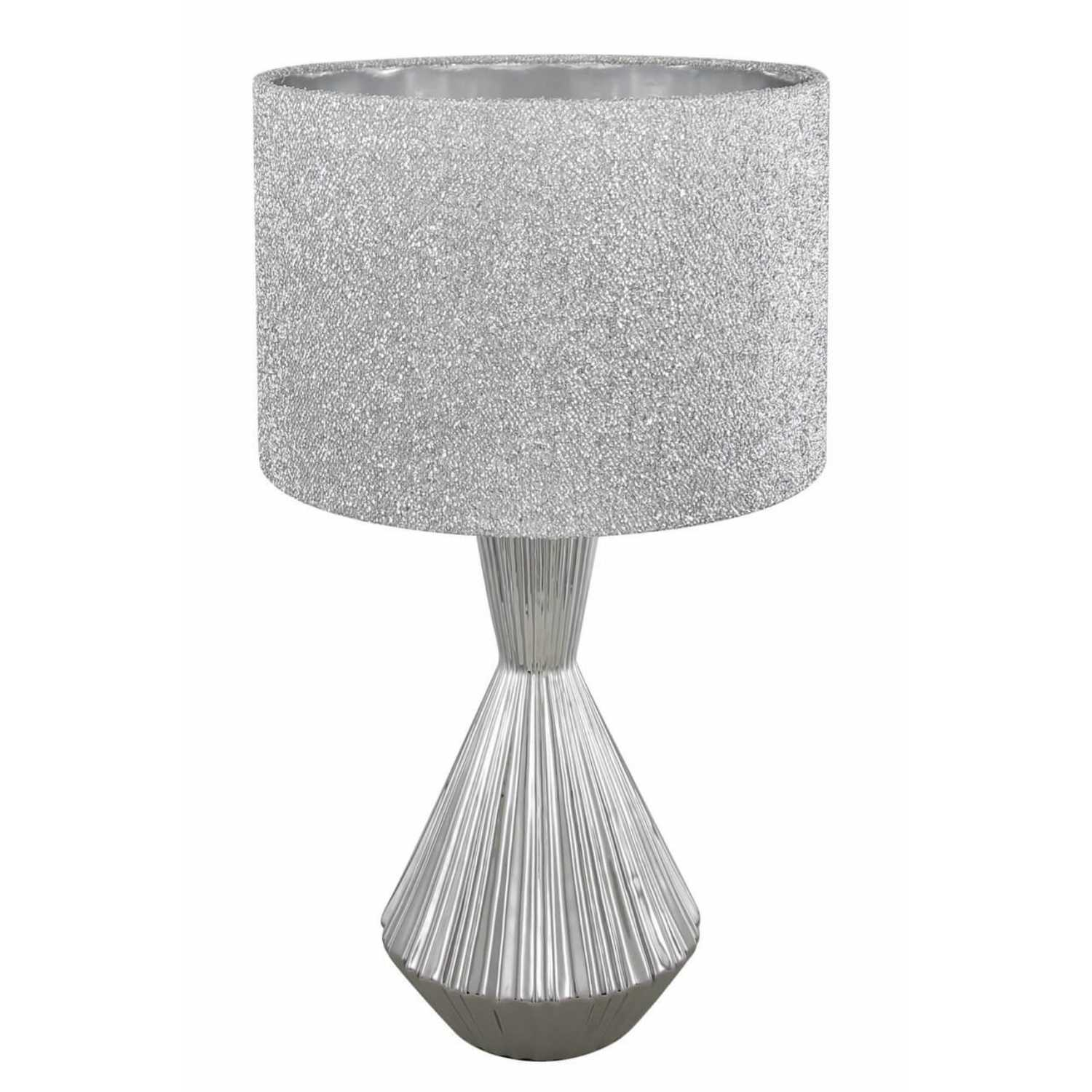 Silver ceramic hourglass table lamp with 13 inch glitter drum shade click to view larger image and more views silver ceramic hourglass table lamp aloadofball Choice Image