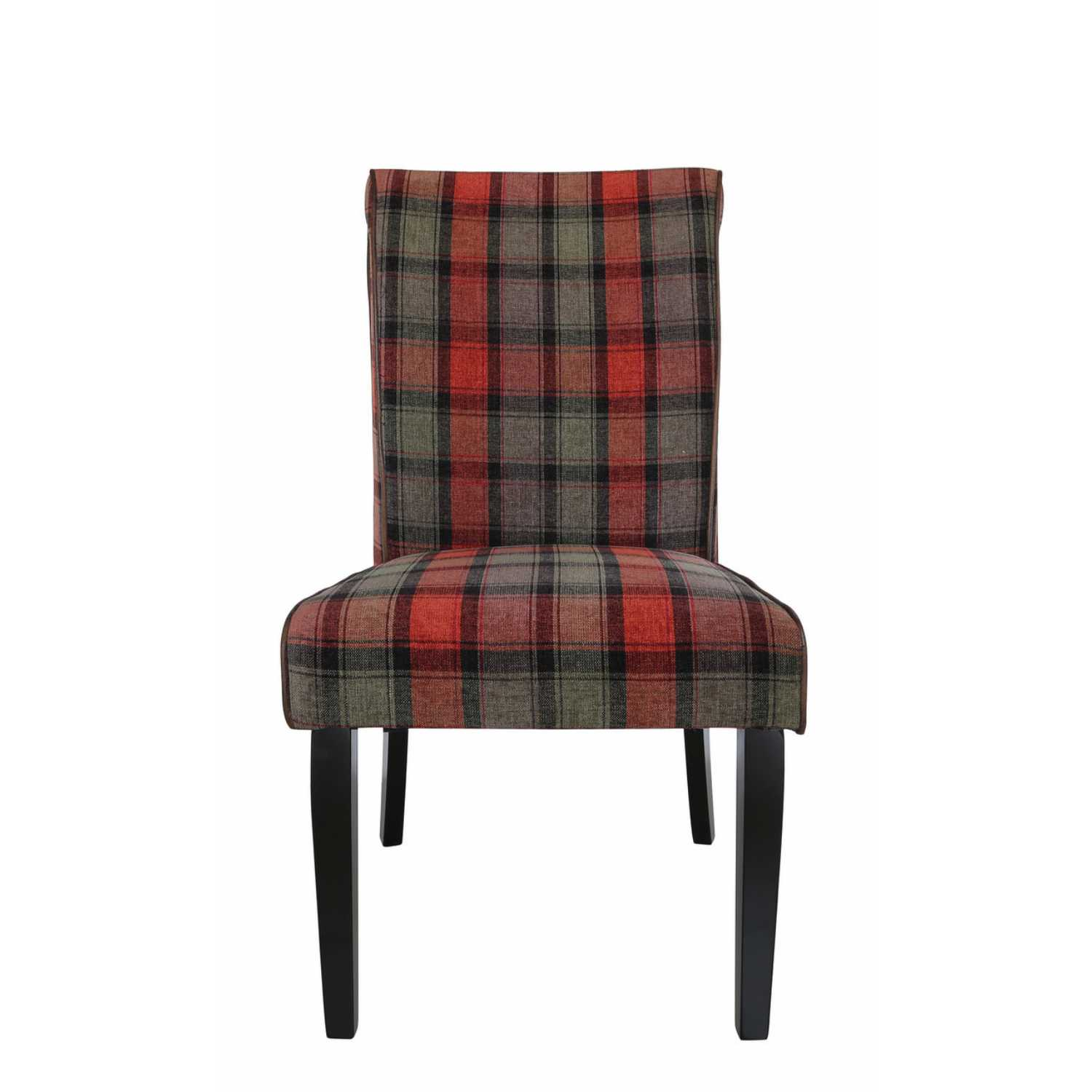 Set Of Six Modern Taupe And Red Tartan Upholstered Dining