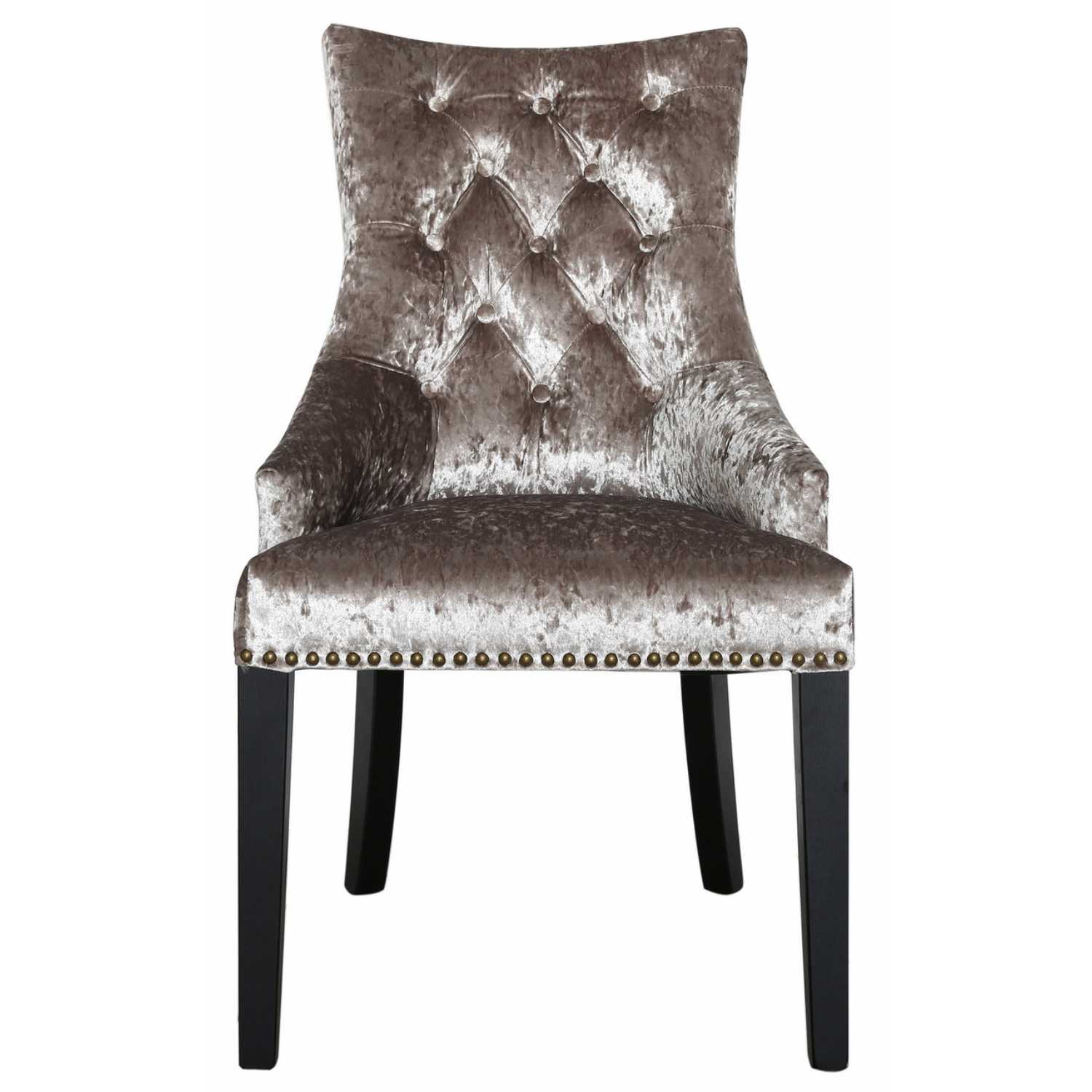 Modern Champagne Crushed Velvet Dining Chair With Knocker Back