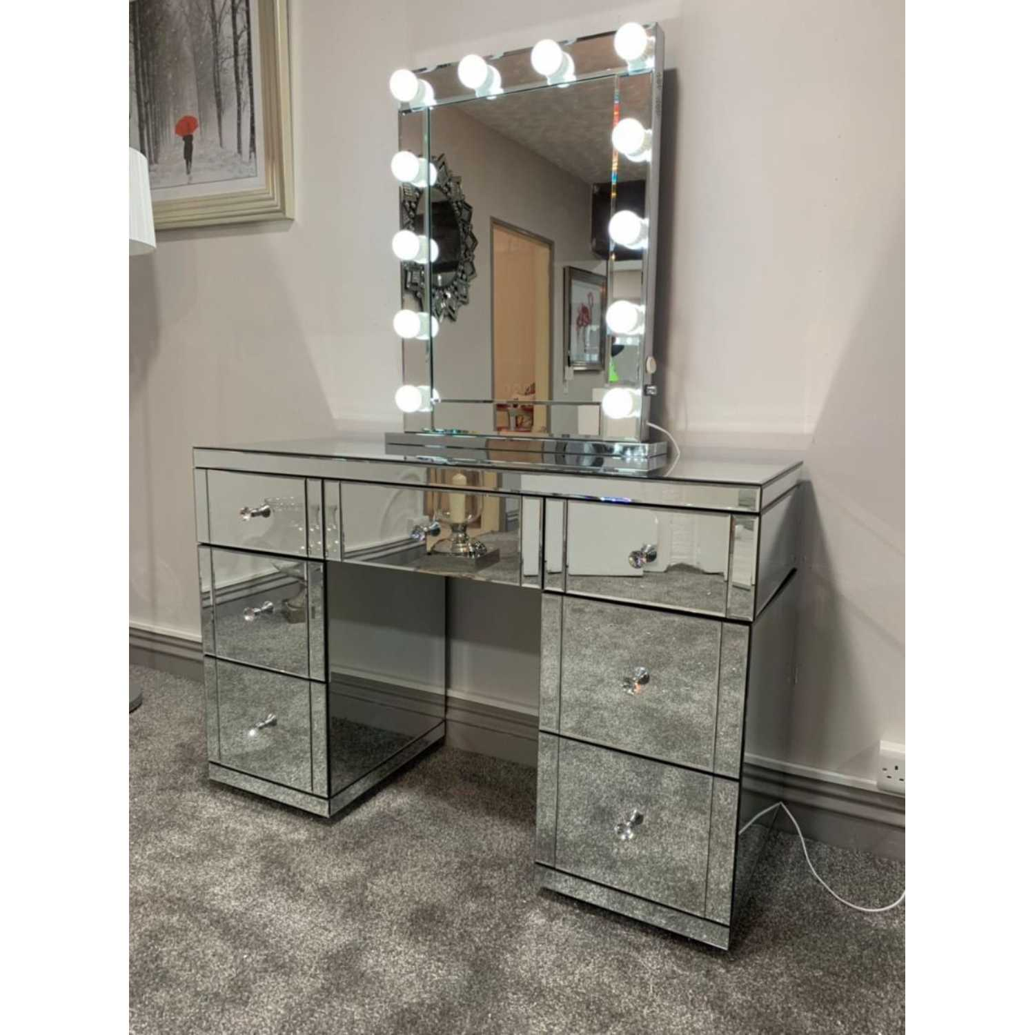 Hollywood Glass Dresser And Desktop Mirror