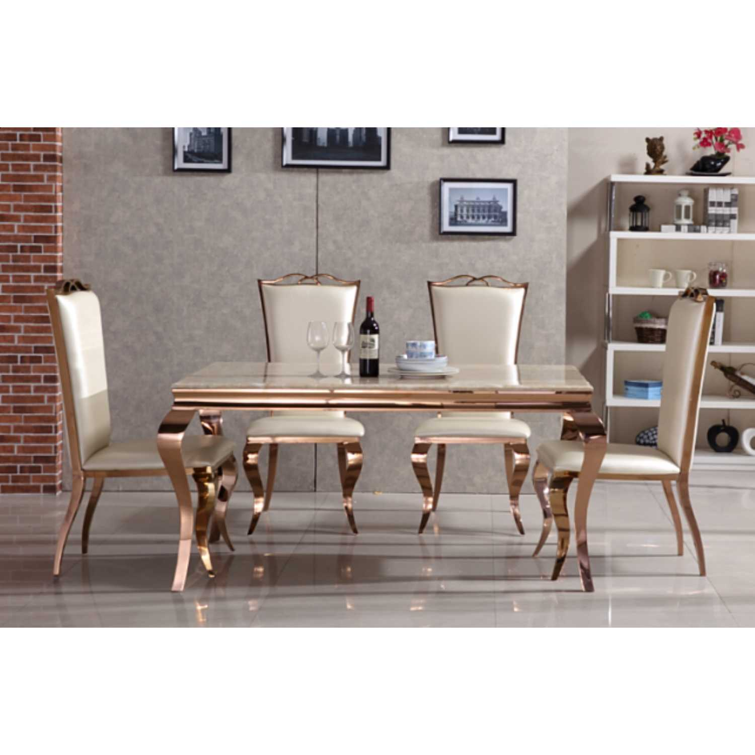 Julia Rose Gold Dining Table With Cream Marble Top And 4 Chairs