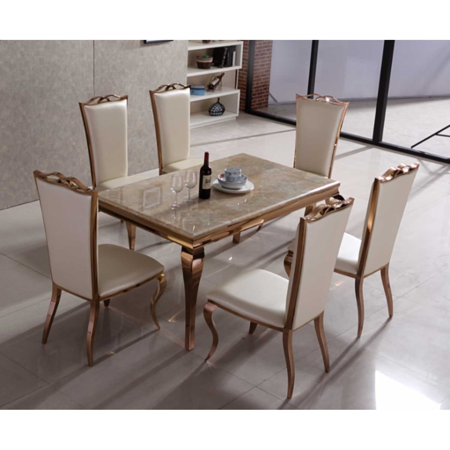 Julia rose gold dining table with cream marble top and 6 for Cream dining table