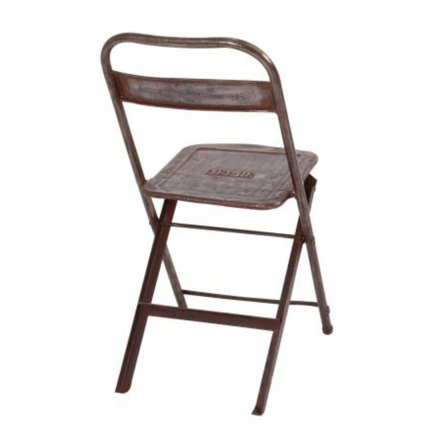 Upcycle Originals Vintage Silver Iron Metal Occasional Folding Chair 100x42x4cm