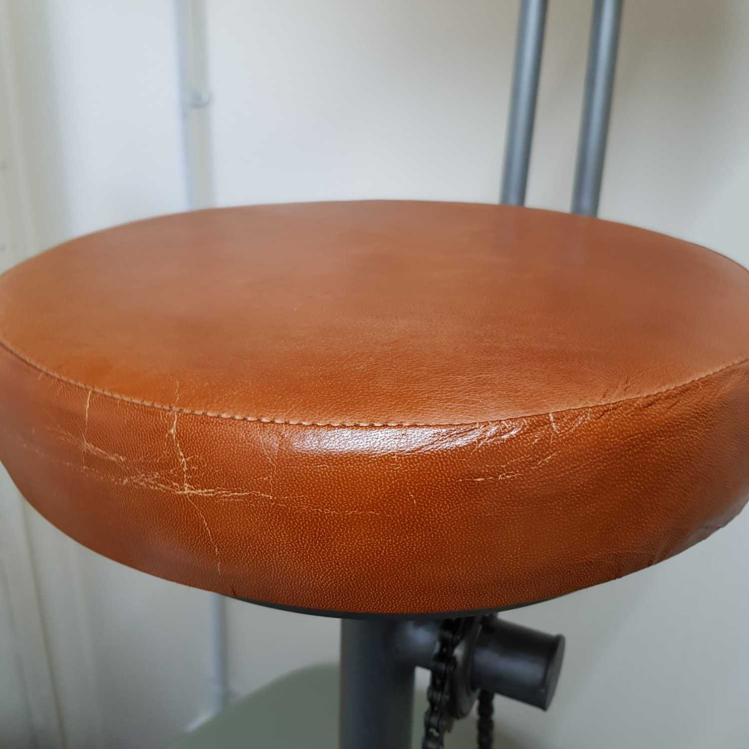 Steampunk Vintage Leather And Iron Bike Pedal Bar Stool