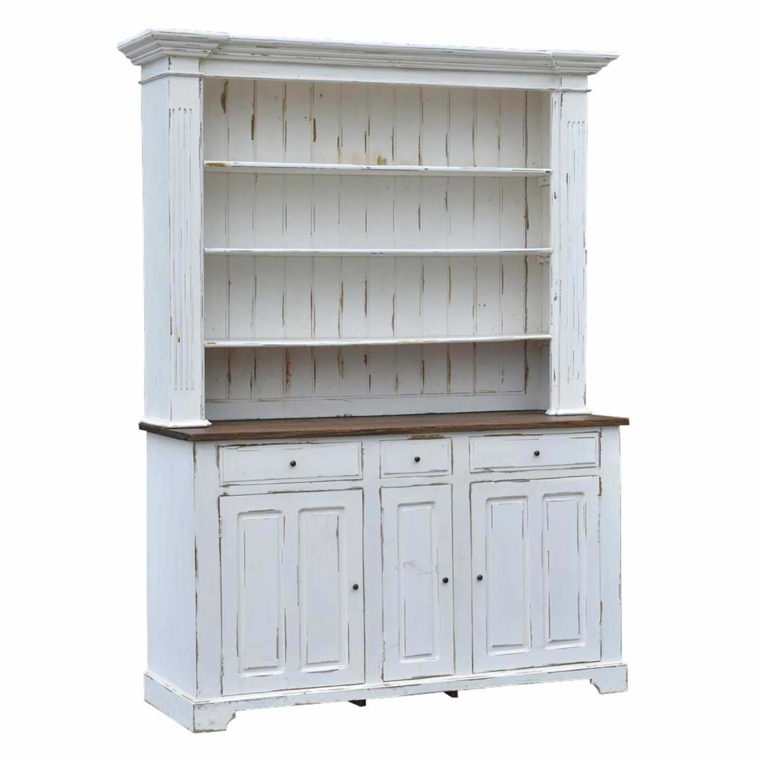 Distress Cabinets: Large White Shabby Chic Distress Dresser Cabinet With Oak Top
