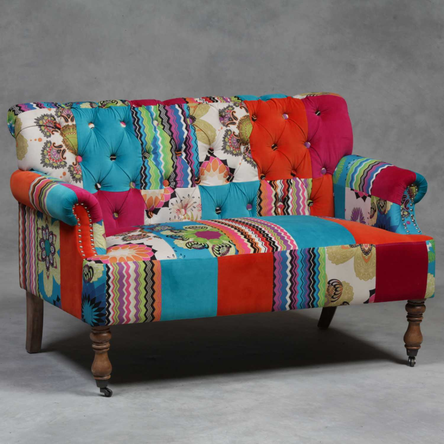 Large london 2 seater patchwork fabric sofa parisarafo Image collections