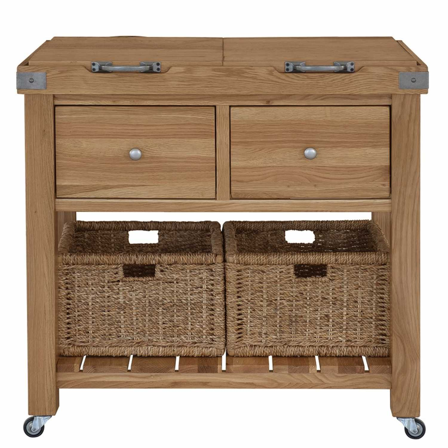 Traditional Style Handmade Oak Wood 2 Drawer Kitchen Double Butchers Block With Castor Wheels 600 x 908cm