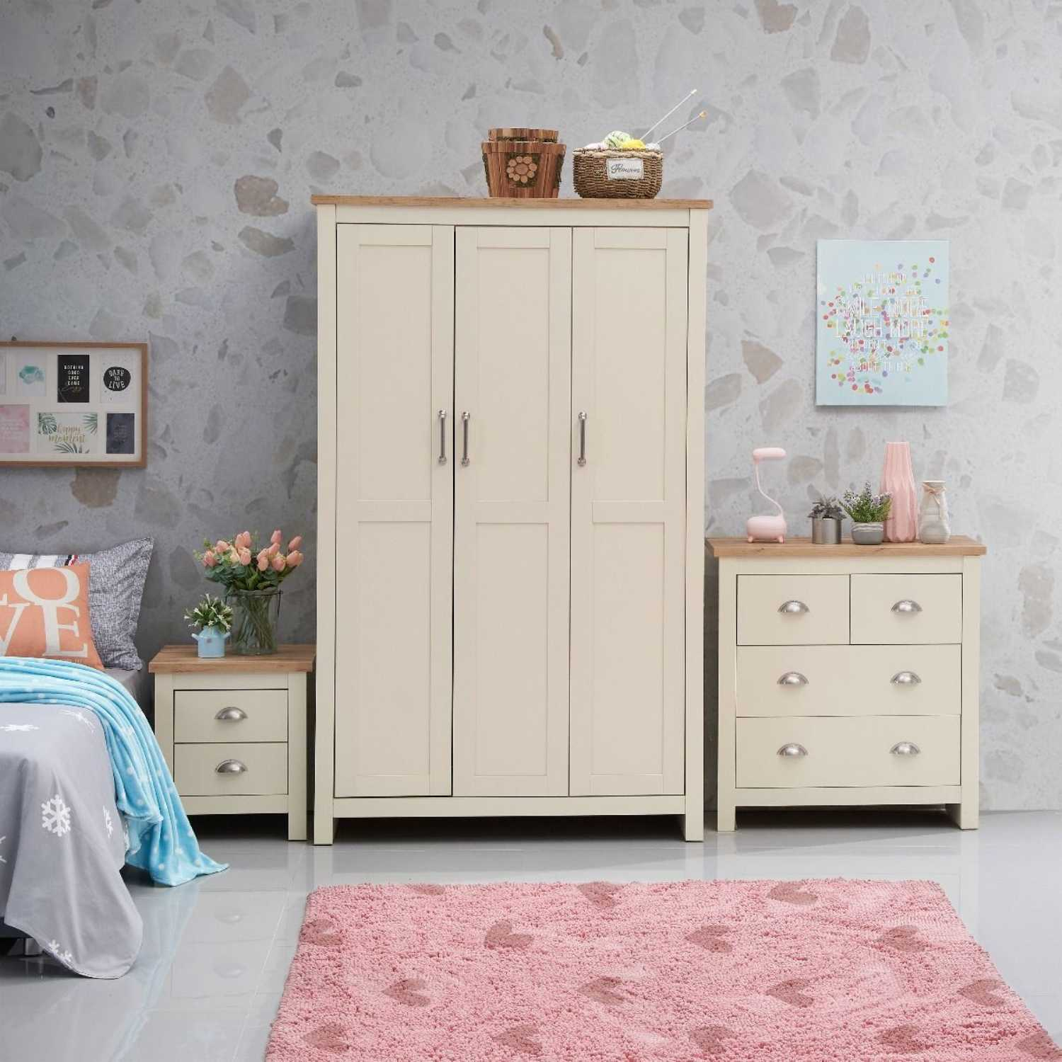 3 Piece Bedroom Set (3 Door Wardrobe, 2+2 Chest, 2 Drawer Bedside)