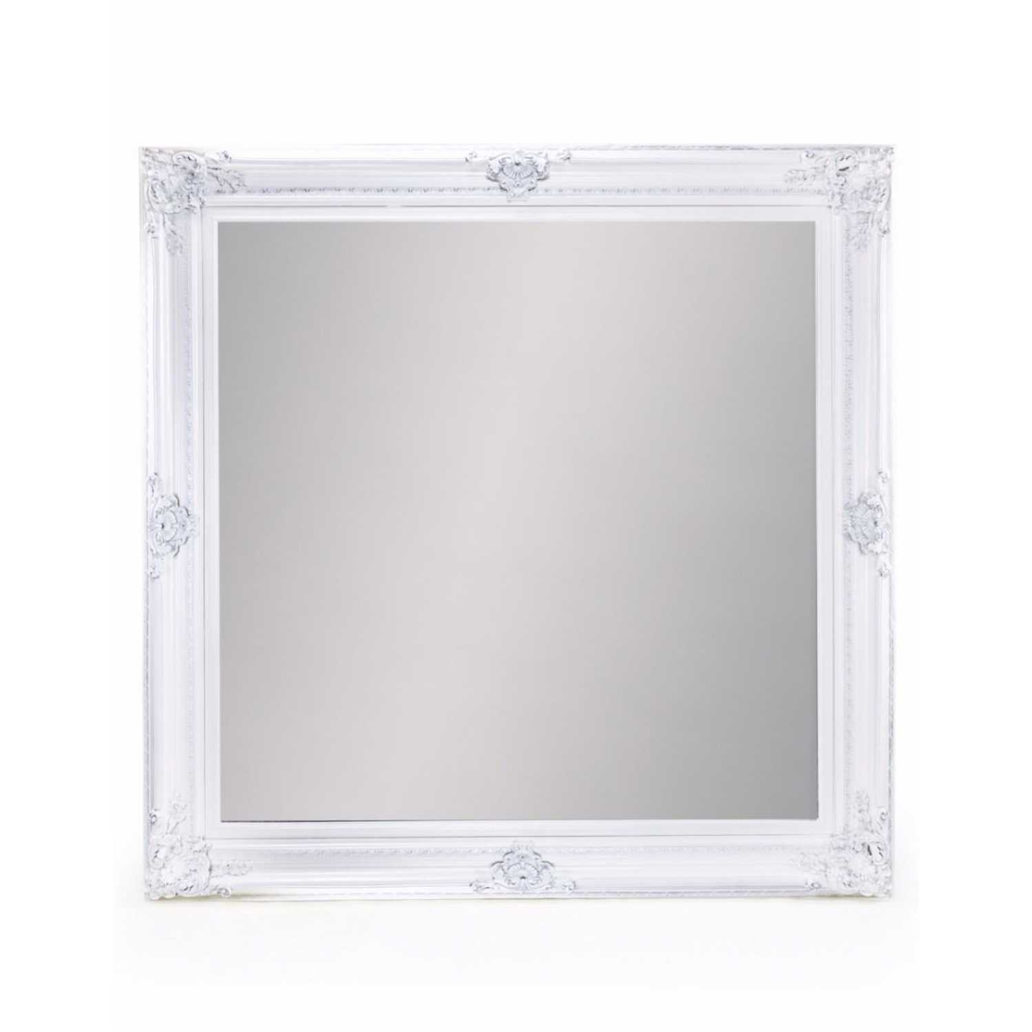 Extra large white square traditional framed wall mirror for Large white mirror
