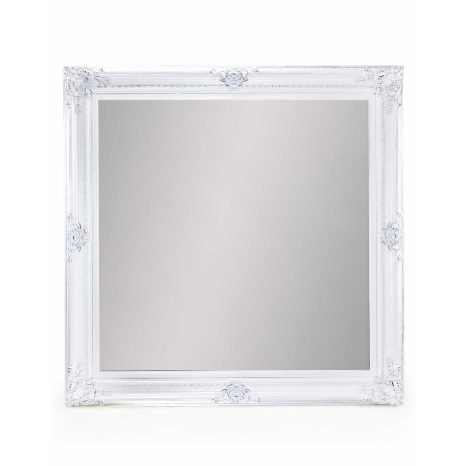 Extra large white square traditional framed wall mirror for Extra large mirrors