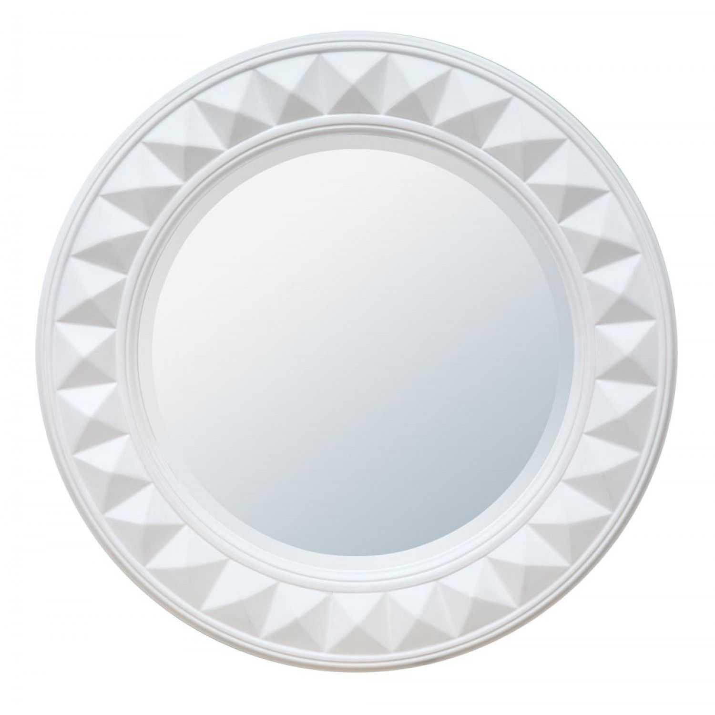 Sunburst white gloss modern round framed bevelled wall mirror for White round wall mirror