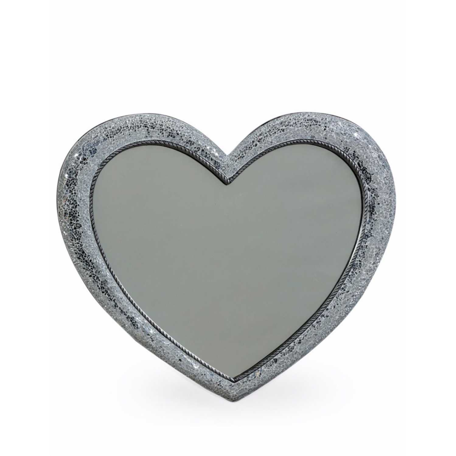 Large Mosaic Crackle Glass Framed Heart Shaped Wall Mirror