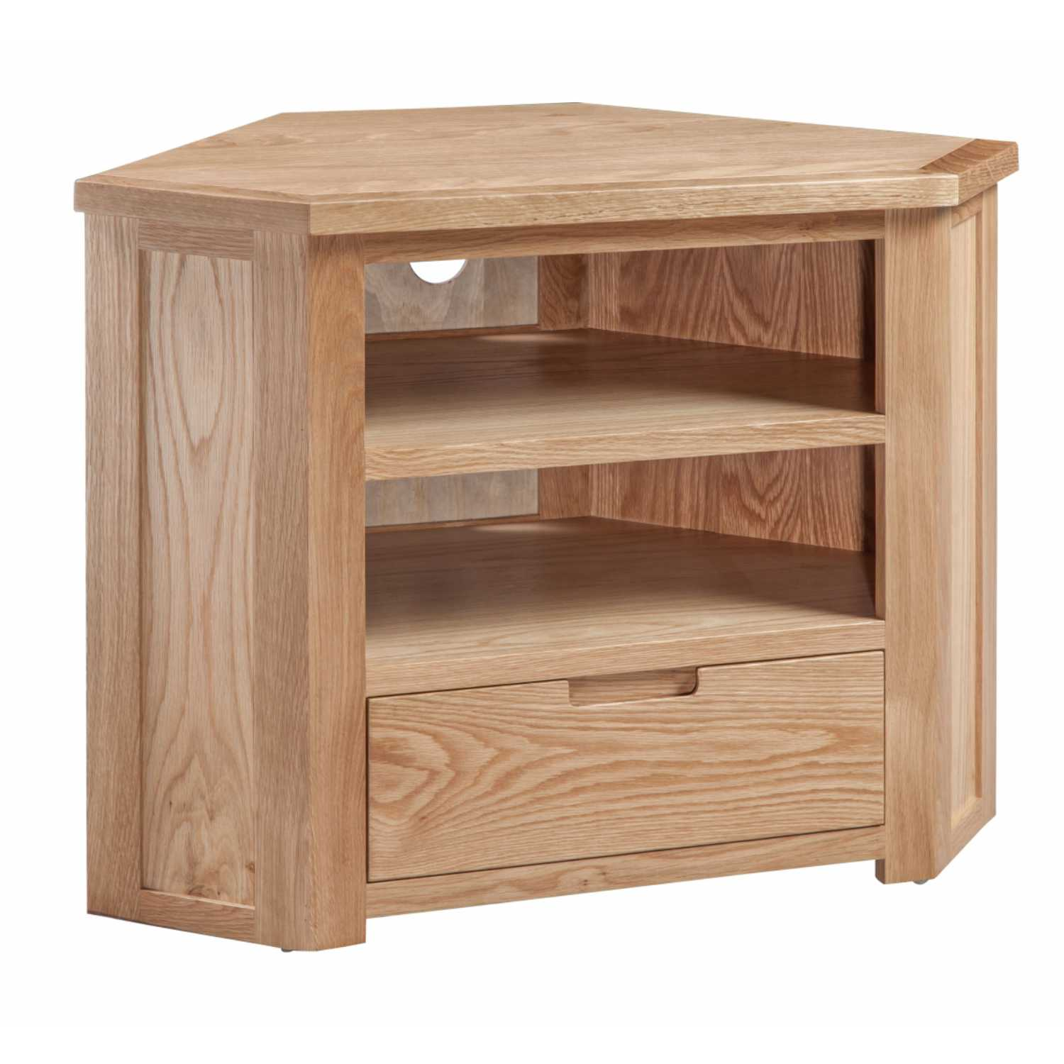 Oak Small Corner TV Media Cabinet with 1 Drawer Open Shelf Moderna Range