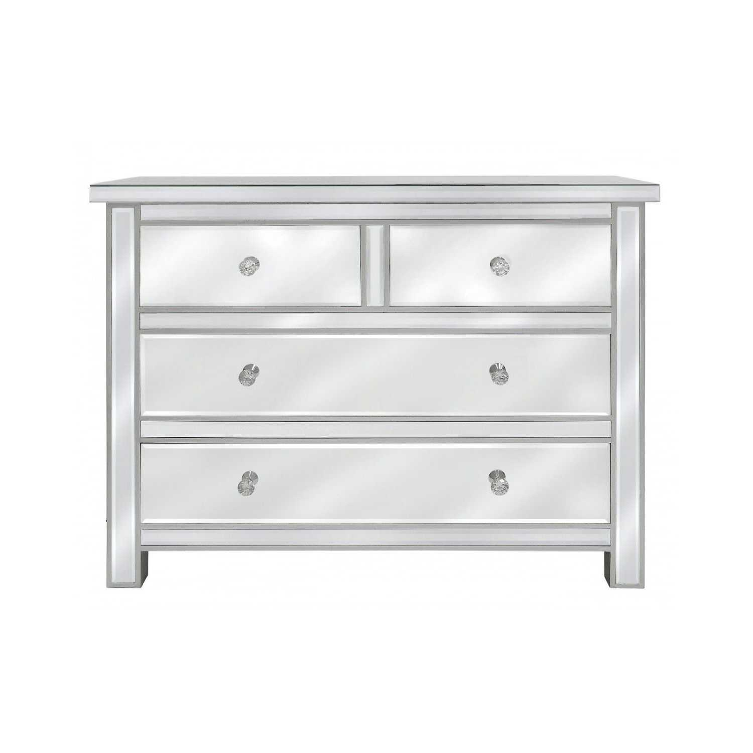 alice mirrored glass four drawer chest of drawers with crystal handles. Black Bedroom Furniture Sets. Home Design Ideas