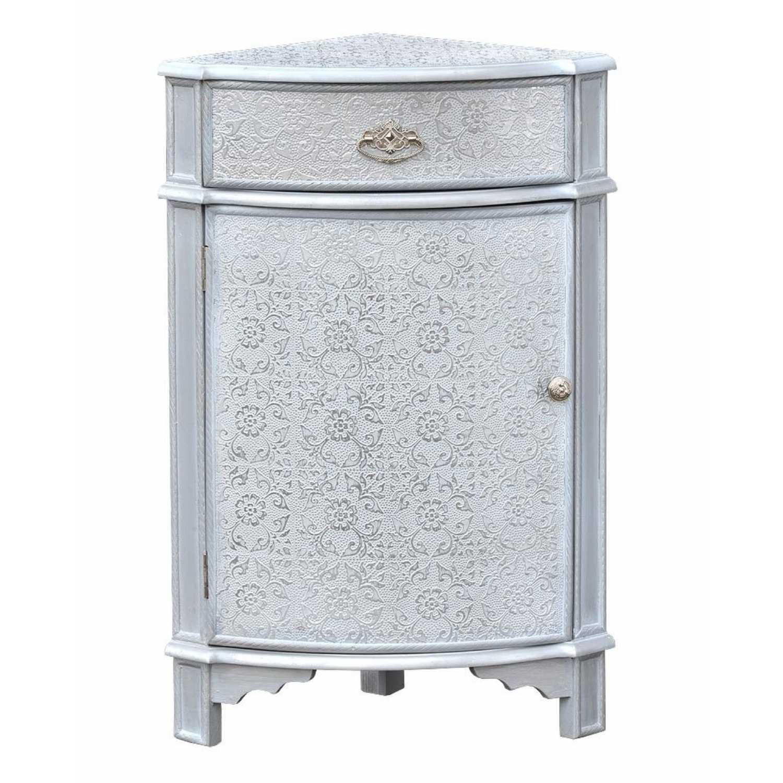 Chaandhi Kar White Silver Embossed Corner Storage Cabinet with Drawer