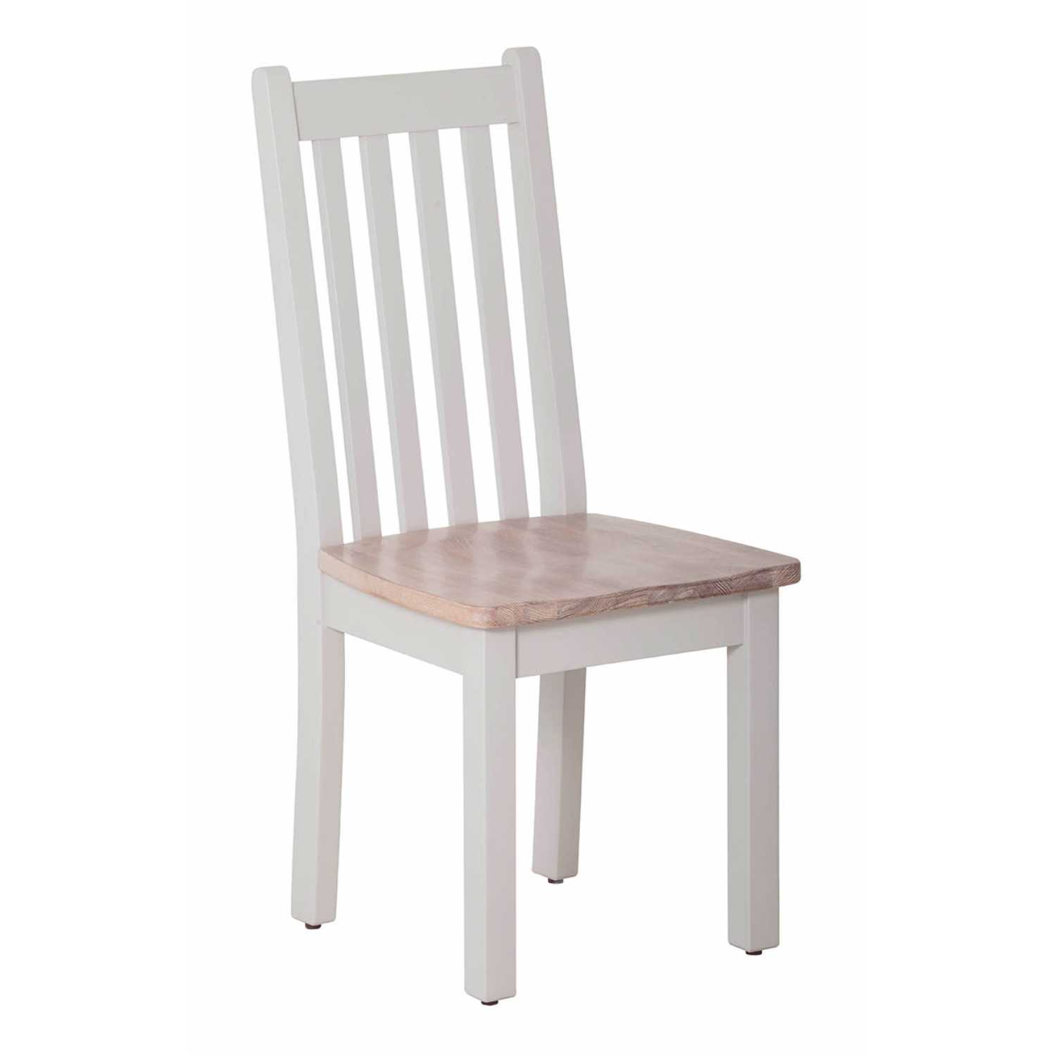 Rosa Top Light Grey Painted Vertical Slats Dining Chair Timber Seat