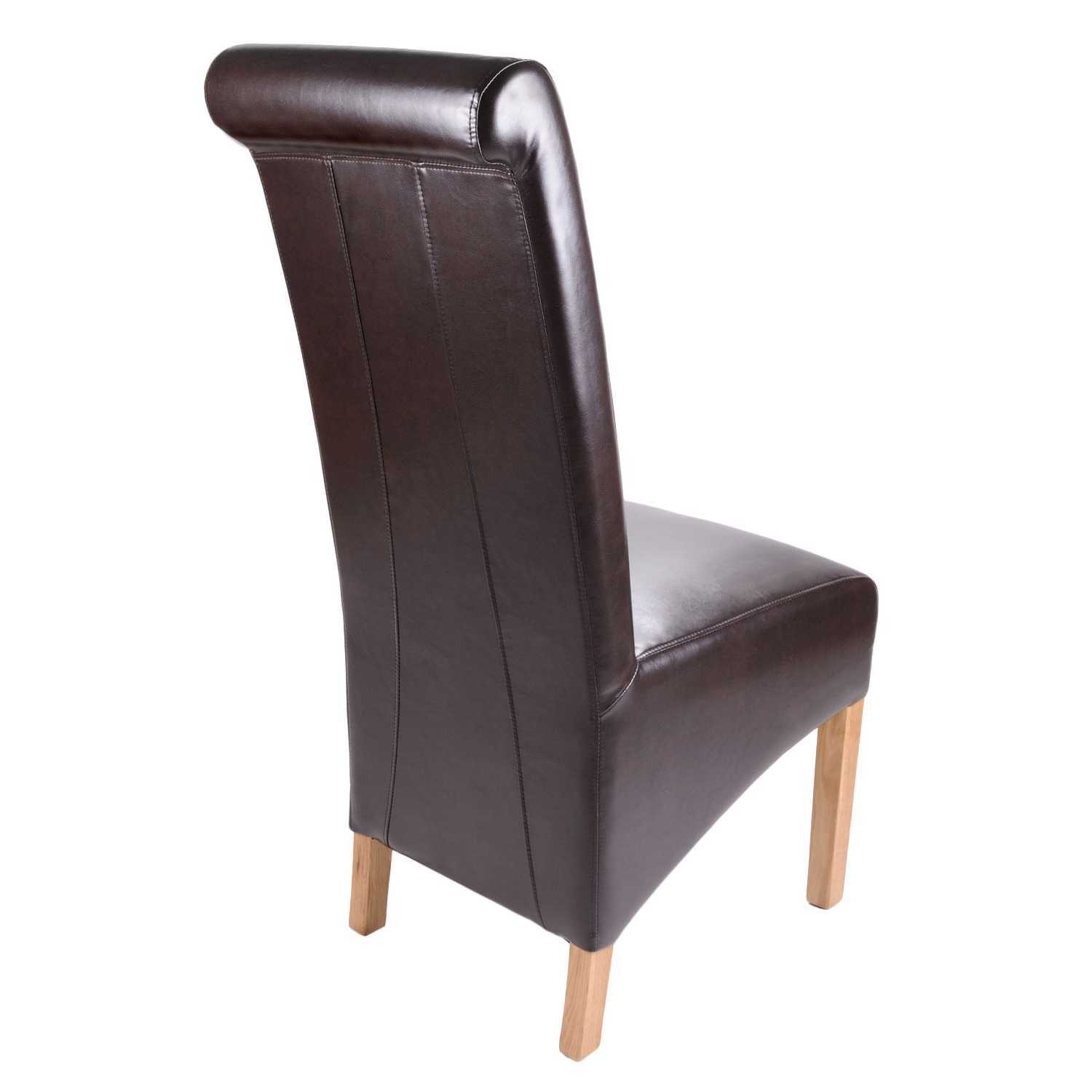 Ex display krista bonded brown leather modern tall back for Modern brown leather dining chairs
