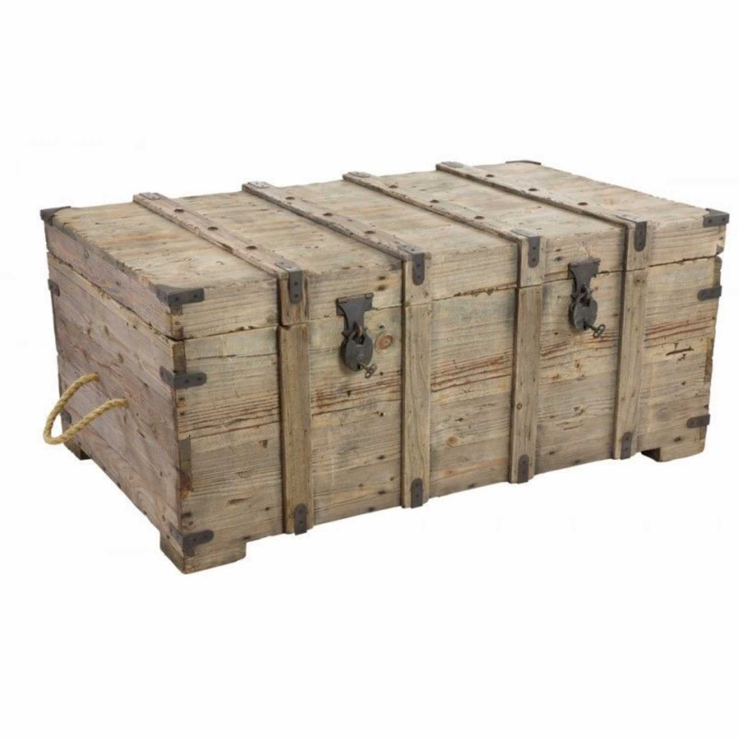 Rustic Reclaimed Timber Trunk Coffee Table With Storage Crates