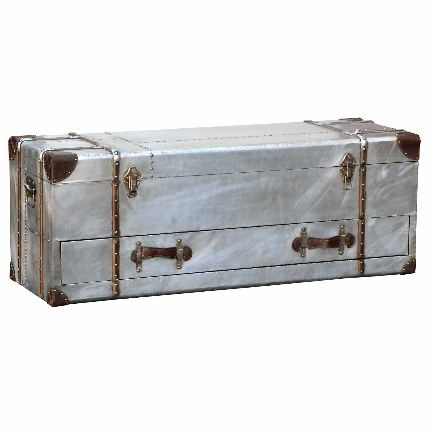 Industrial Aluminium Silver Metal Storage Chest Trunk With