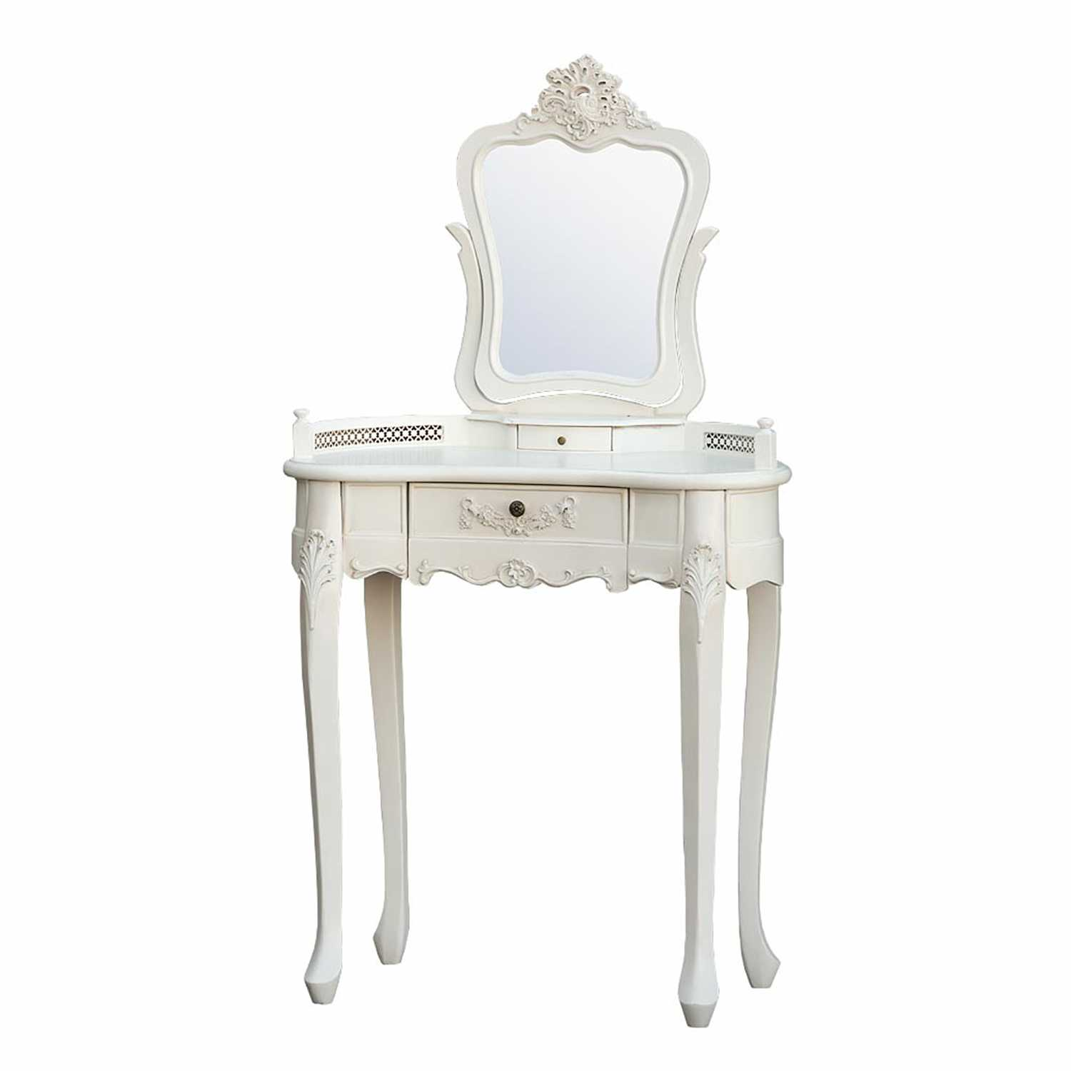 Antique White Small Dressing Table With Mirror