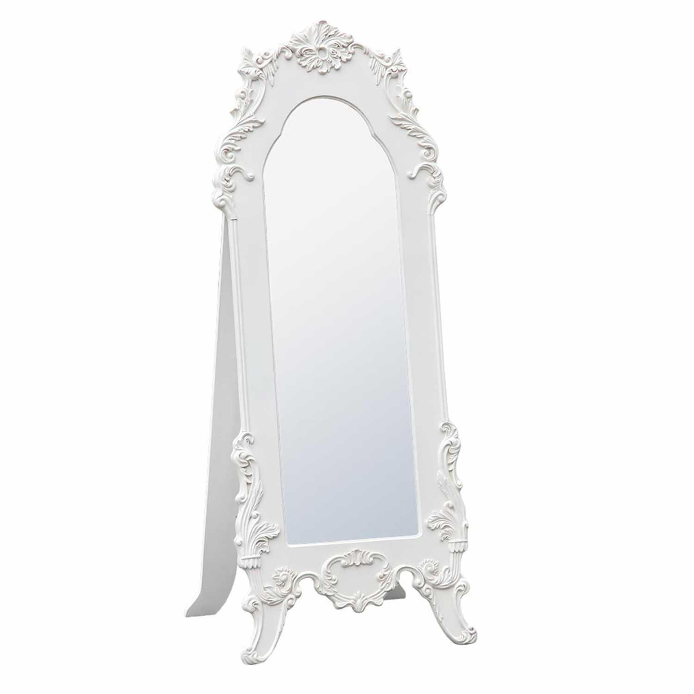 Antique White Floor Standing Mirror