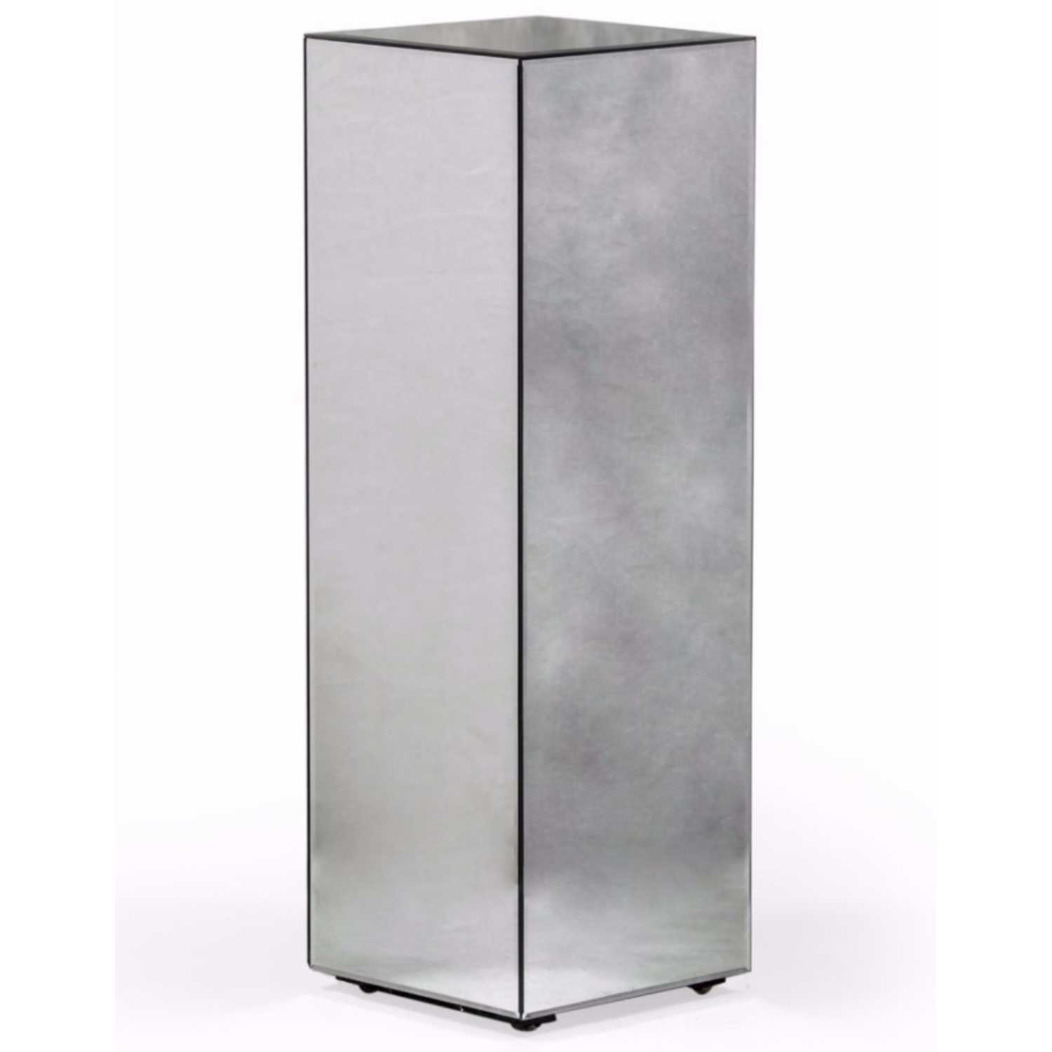 Tall Square Mirrored Glass Pedestal Column Pillar Display Stand 90 x 30cm Square