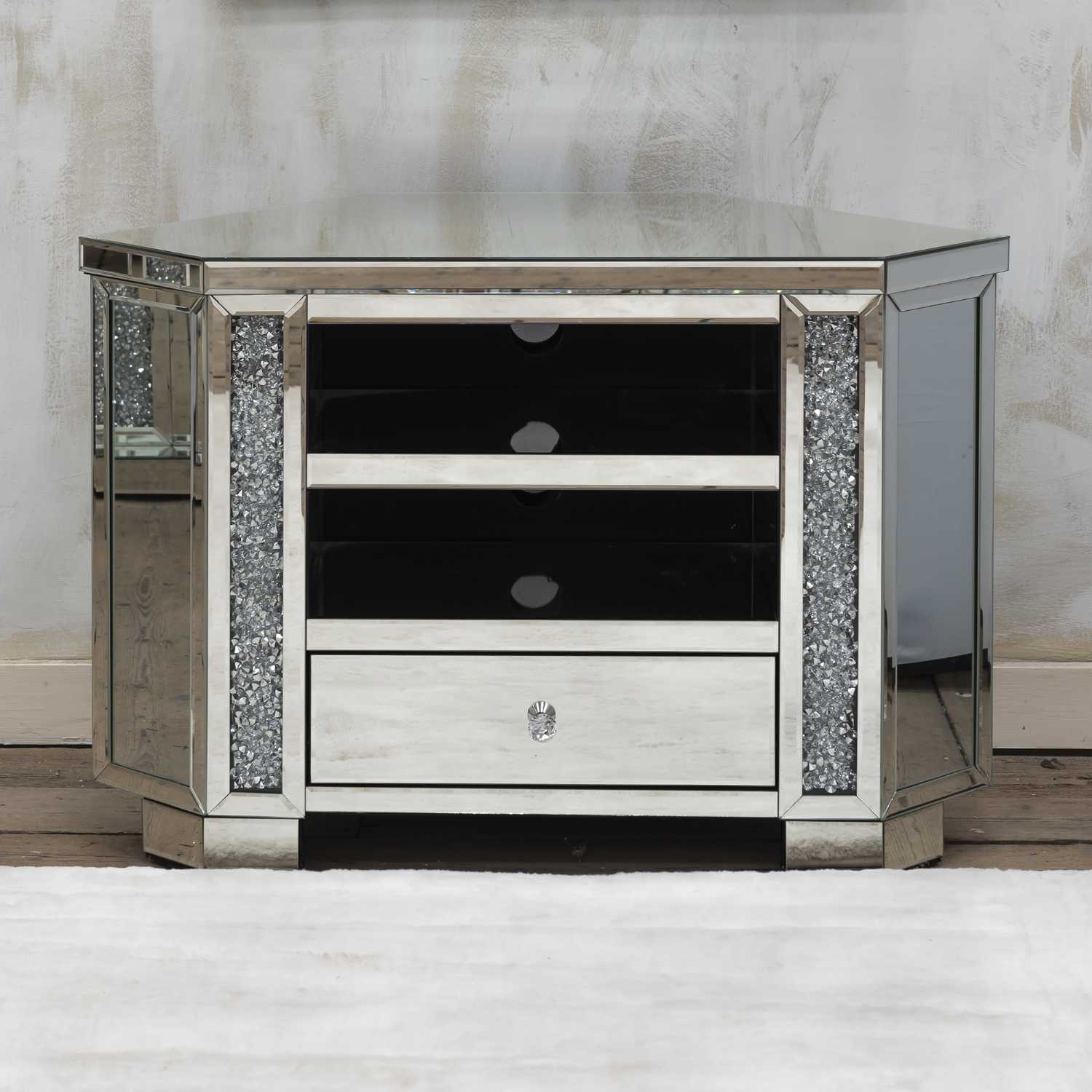 Venetian Crushed Diamond Mirrored TV Media Unit With Shelf and drawers