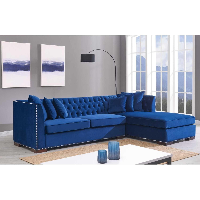 Astounding Royal Blue Velvet Chesterfield Corner Sofa Right Hand Inzonedesignstudio Interior Chair Design Inzonedesignstudiocom