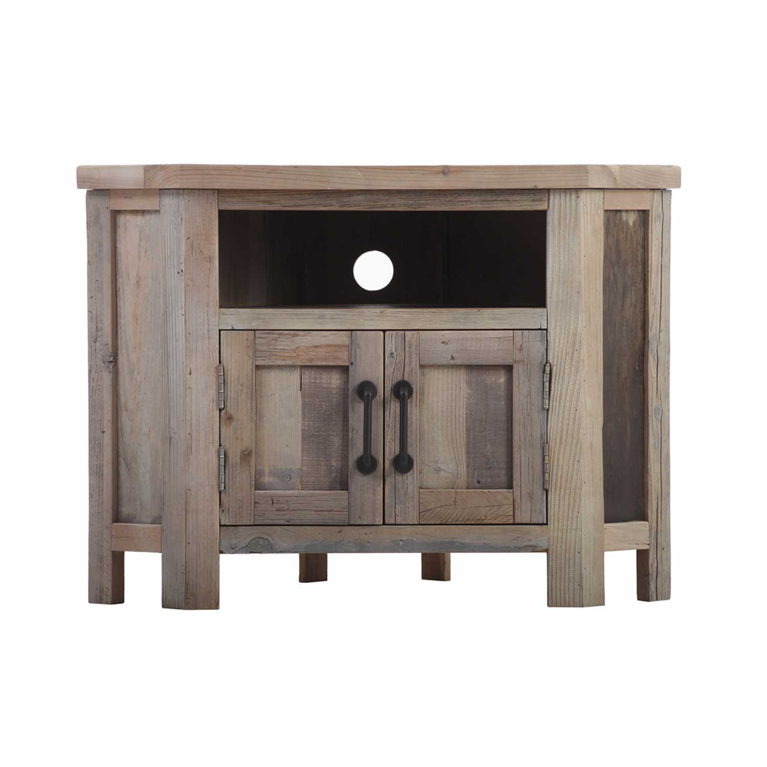 huge selection of 80696 44fa6 Cal Stadium Reclaimed Wood 90 Degree Corner TV Unit With 2 Doors And 2  Shelves