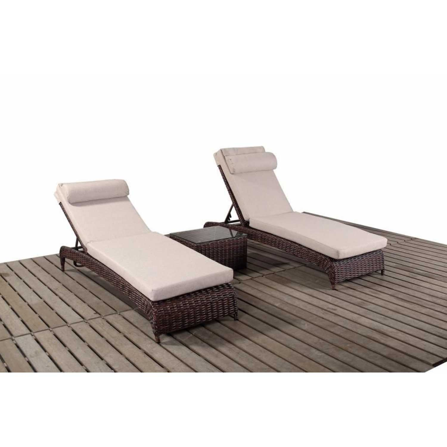 pair of rattan port royal windsor sun loungers cushions and side table