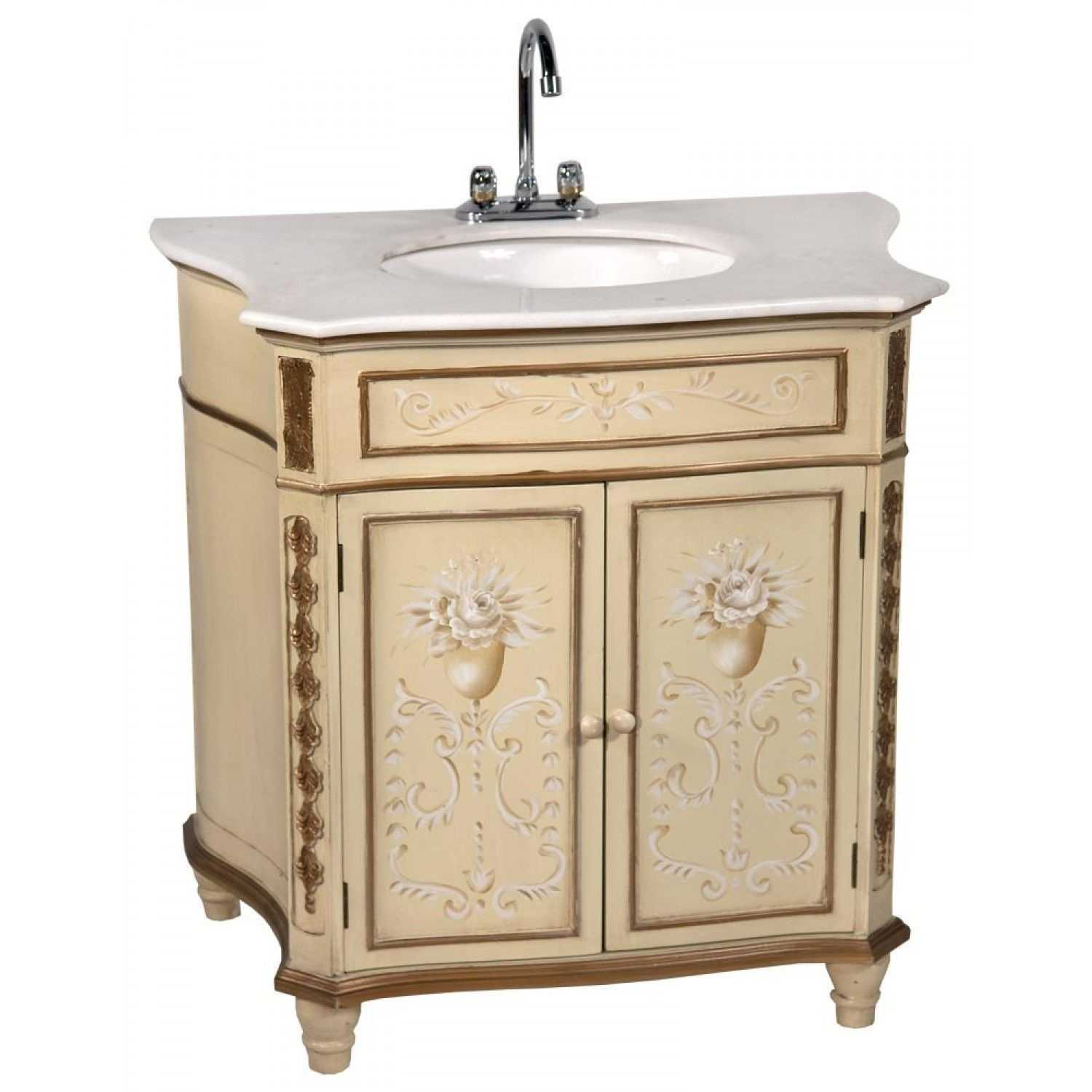 Painted rosasea summer vintage style vanity bathroom sink cabinet for Bathroom vanities vintage style