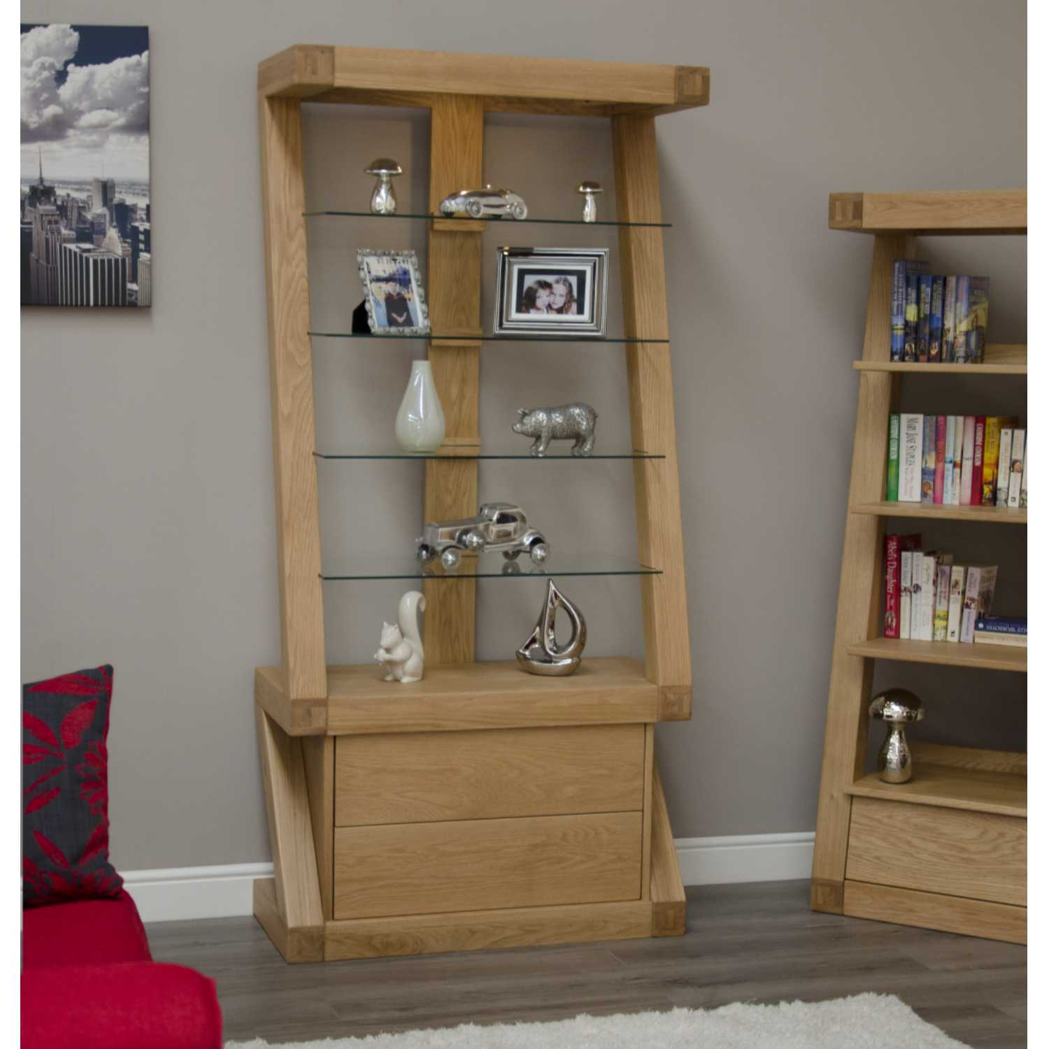 Z Shape Oak Open Display Cabinet Glass Shelves and Top Light 2 Drawers Base