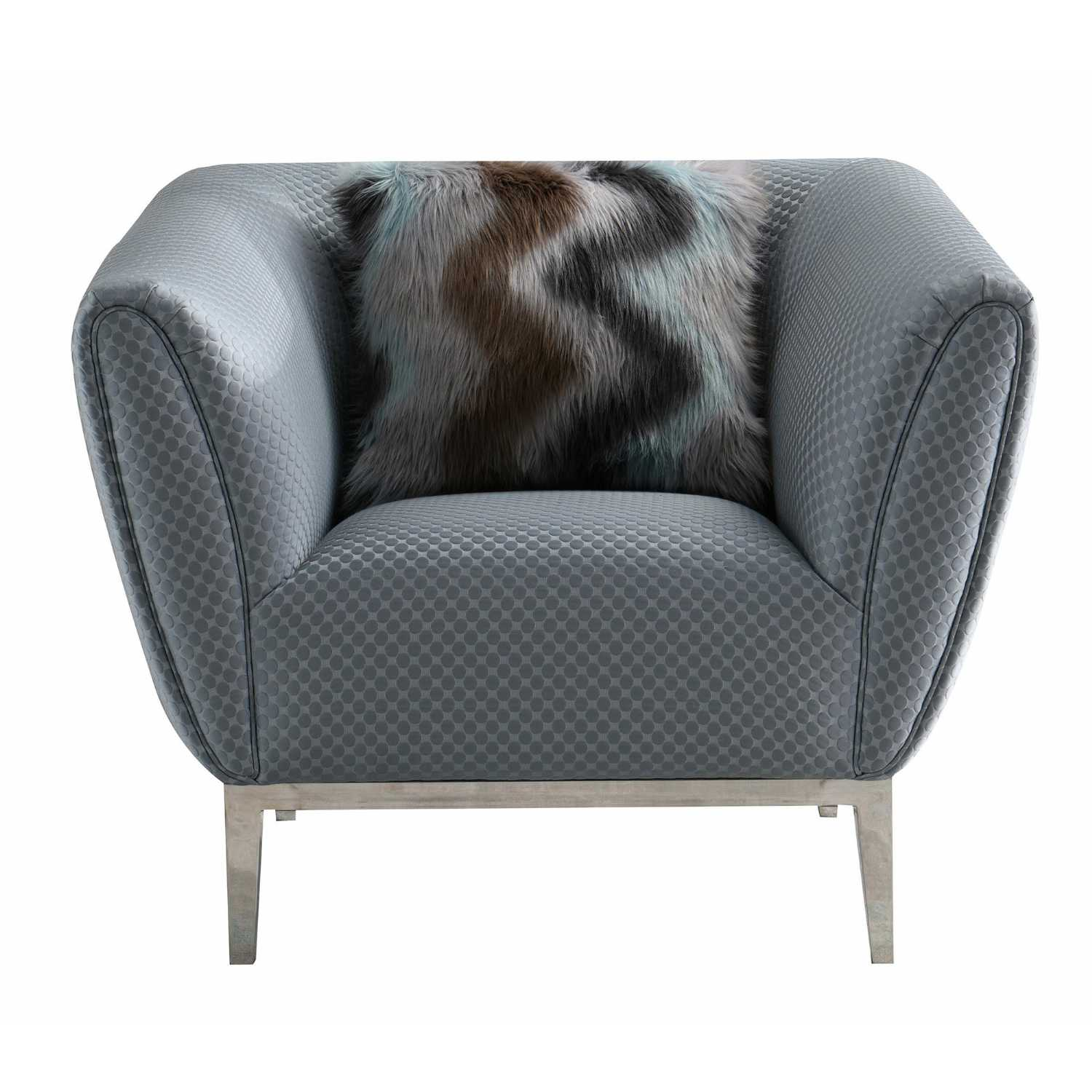 Excellent Modern Grey Circle Stitch Fabric Chair With Chrome Frame And Tapered Feet Dailytribune Chair Design For Home Dailytribuneorg